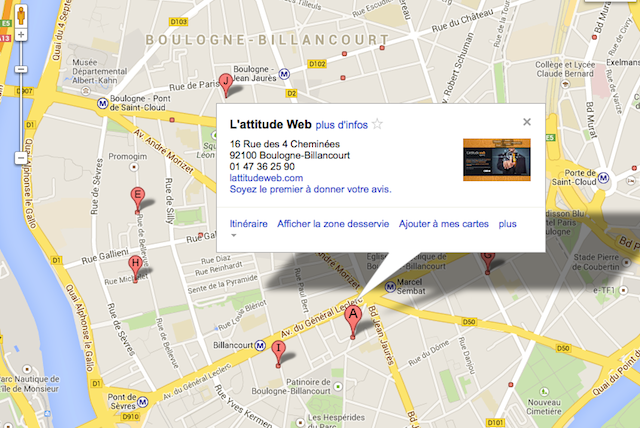 Exemple de résultat Google Maps